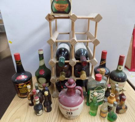 Selection of vintage wines and liquers