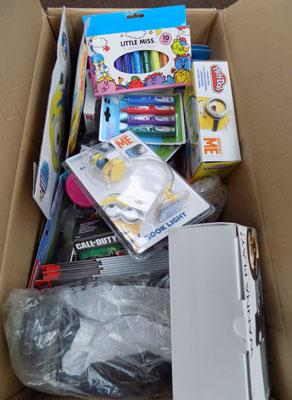 Box of new items incl: pepper pig cups, flannels etc.
