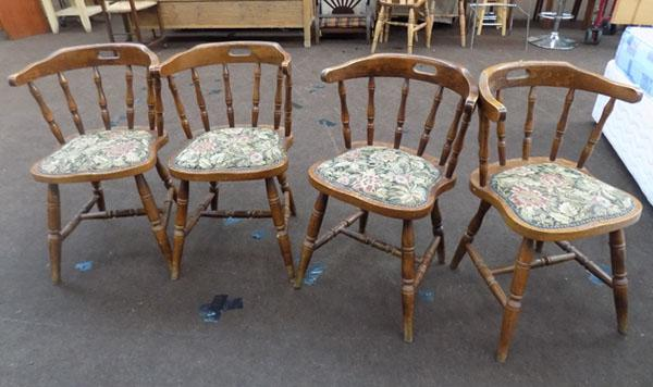 Set of 4 curved back chairs