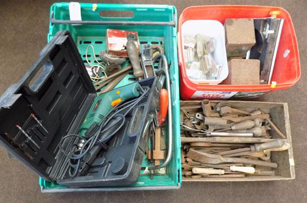 3 trays of tools