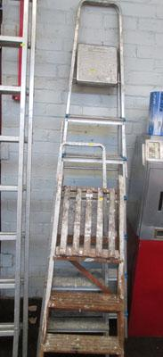 2 Aluminium ladders and 1 wooden ladder