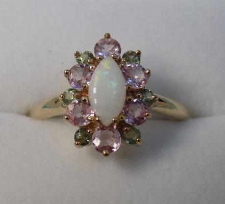 9ct gold opal and sapphire ring (with cert)