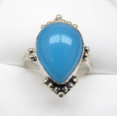925 Silver blue Chalcedony ring size O1/2