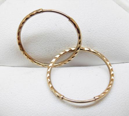 Pair 9ct gold ear rings 'Sleeper style'