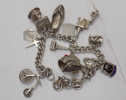 Silver charm bracelet with charms-no clasp