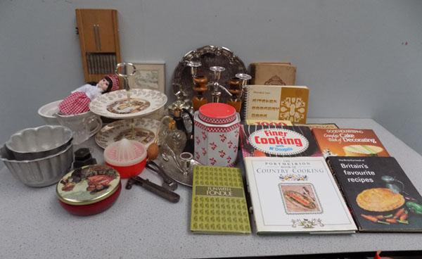 Box of collectables including vintage cookery books