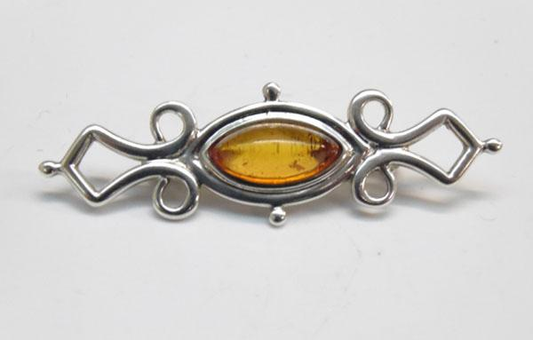 Sterling silver Amber Art Nouveau style brooch