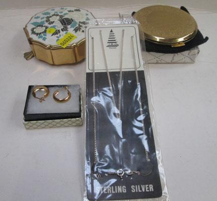 9ct Gold ear rings & silver chain + 2x Stratton items