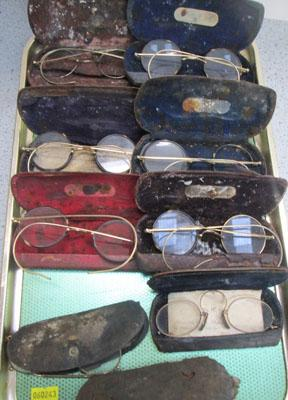 6x pairs of vintage spectacles (some marked 1/10 10k) and 3x pairs pince ne2 spectacles