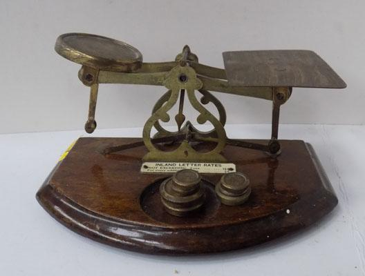 Vintage letter weighing scales with weights