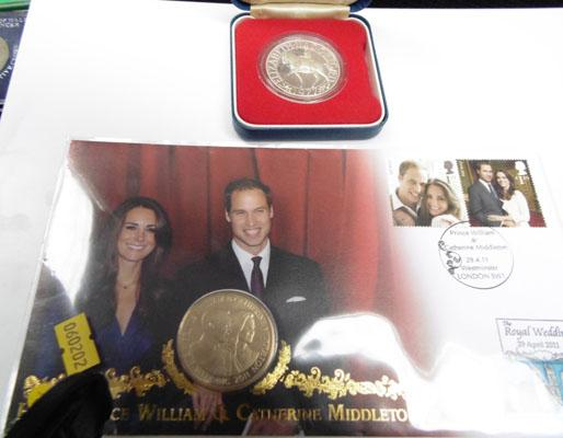 1977 Silver proof Commerative coin and 2001 coin and stamp set