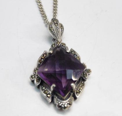 Large Silver Amethyst pendant on silver chain