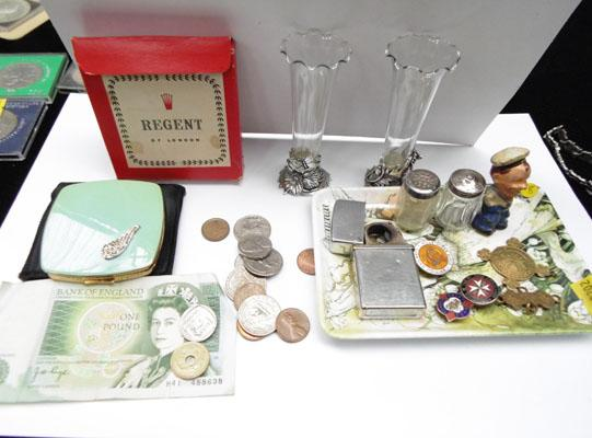 Selection of collectables including £1 note, coins and minature  silver salt and pepper