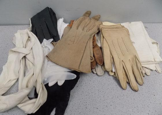 Box of antique and vintage gloves