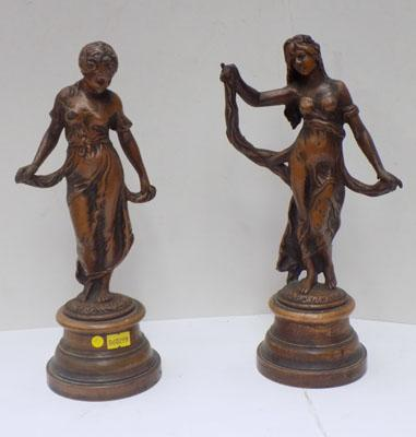 Pair of Bronze lady statues