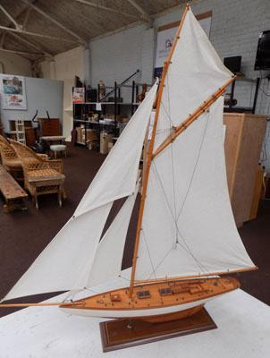 Model of a yacht in sail
