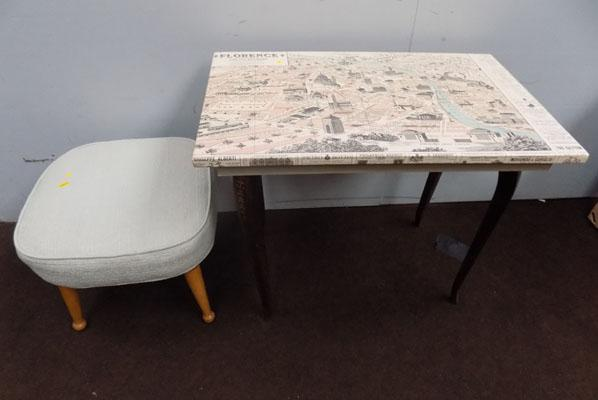 Map table and vintage stool