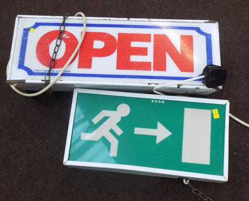 2 shop neon Fire Exit signs and Open w/o