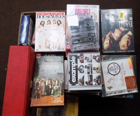 Box of DVD, CD's and tapes
