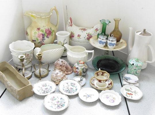 Box of named pottery inc Poole, Royal Crown Derby and Shelley
