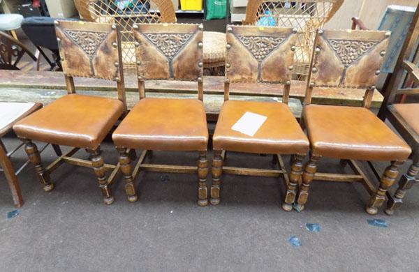 4 Oak dining chairs - Jacobean