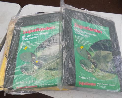 Selection of skip bags and tarpaulins