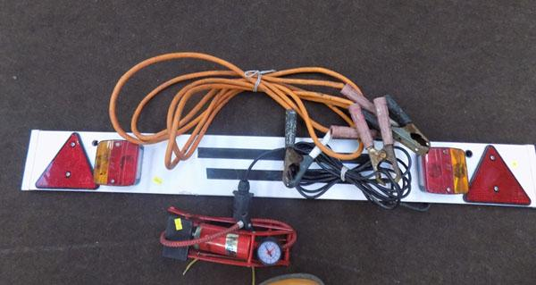 Trailer lighting board/ heavy duty leads and foot pump