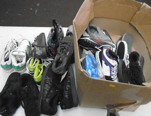 Box of various sized shoes / trainers