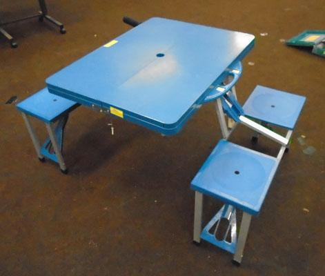 Blue camping table