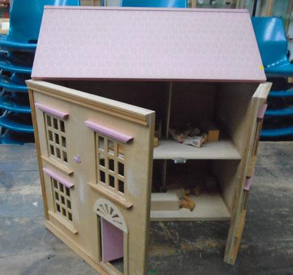 Single fronted dolls house with some furniture