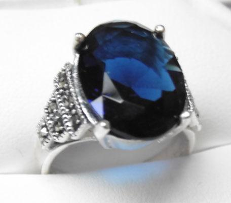 Art Deco style silver Sapphire & Marcasite  ring
