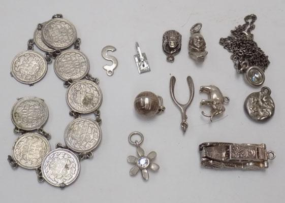 Collection of silver inc Sixpence bracelet