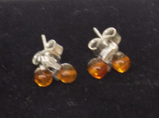 Pair of sterling silver and Amber earrings - biker themed
