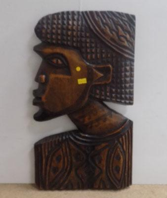 Carved African lady bust plaque