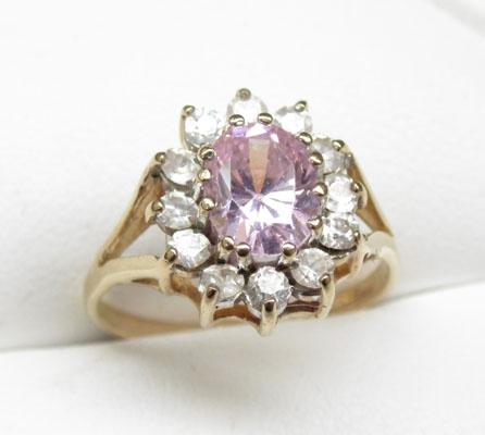 9ct Gold pink & white stone cluster ring size N