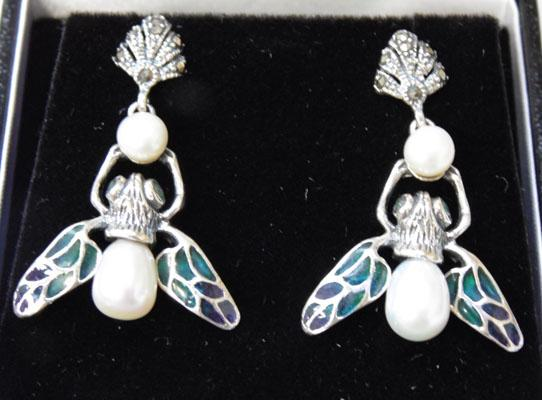 Pair of Art Nouveau silver Pearl & Marcasite ear rings