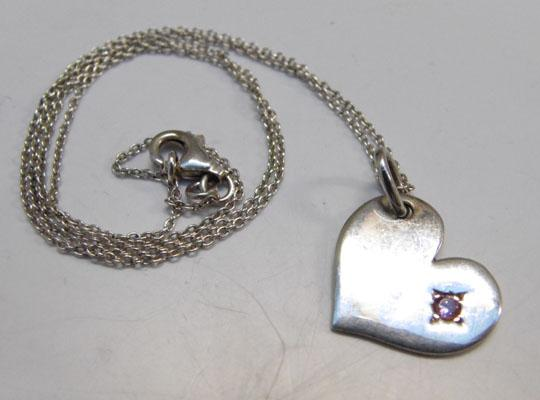 Sterling silver heart necklace with pink stone