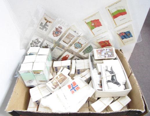 Box of cigarette cards and others