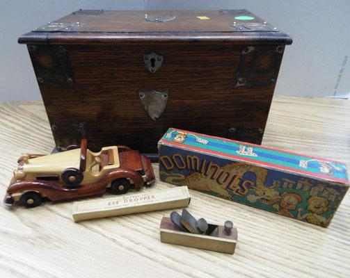 Brass mounted box and contents