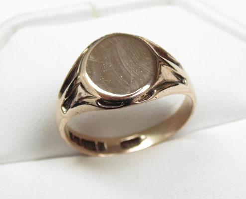 9ct Rose gold old signet ring size T