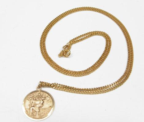 9ct Gold chain & St Christopher pendant