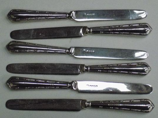 Set of six silver handled knives