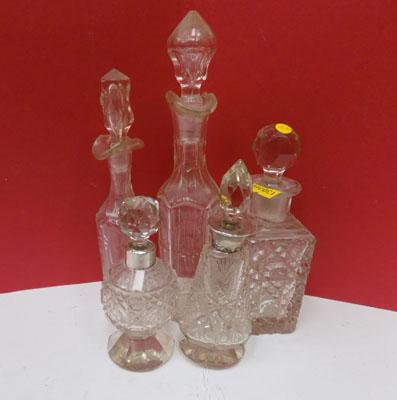5 Scent bottles (2 with silver tops)