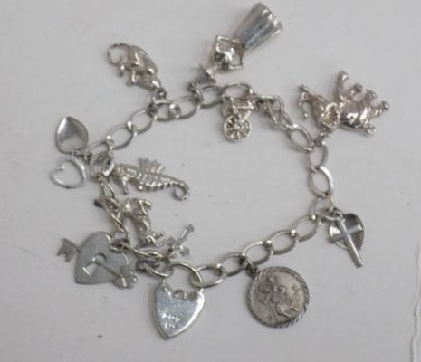 Silver charm bracelet with 11 silver charms