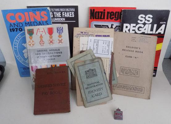 WW11 Soldier service book & other papers & WW11 books