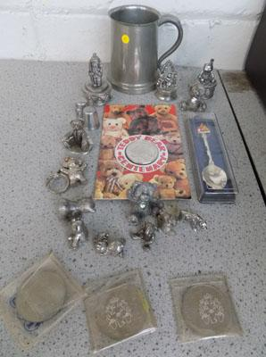 Selection of pewter & coins