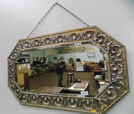 Bevel edged vintage mirror with decorative frame