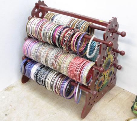 Bangle stand with Indian bangles