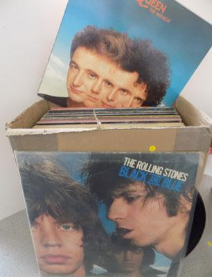 Box of Rock and Pop LP,s including Rolling Stones and Queen