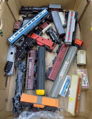 Box of mixed train engines and carriages